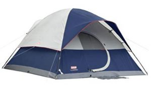 coleman family tent with LED light