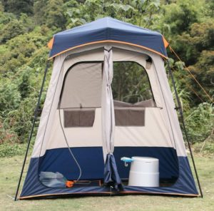 a shower tent with 2 room