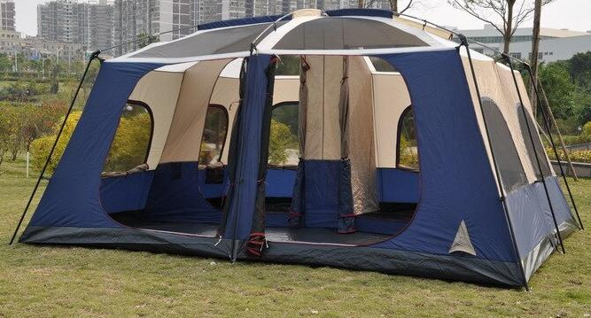 a tent with 2 bedrooms