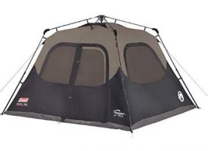 Coleman 6 person camping tent with cabin style and dark rest technology