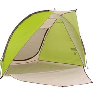 Coleman shelter for beach camping with zipper extended front door