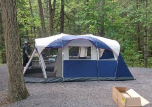 Coleman elite 6 person summer tent with a screen room and built in led lighting