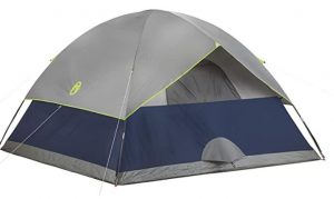 dome shape backpacking tent used for 4 person