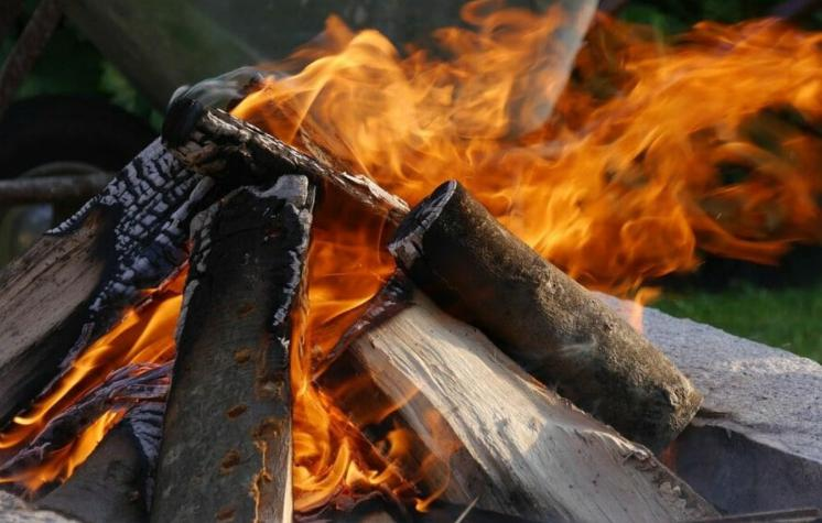 set a bonfire with firewood