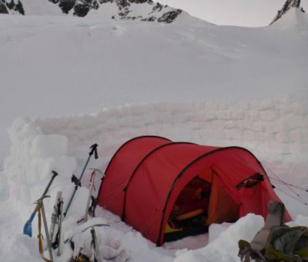 snow wall helps insulate your tent for winter