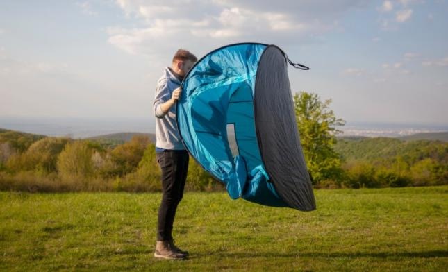 ways to fold up a pop up tent