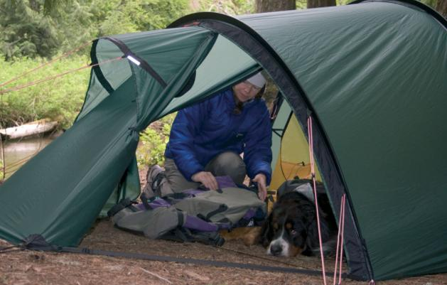 a tent with vestibule for rainy days