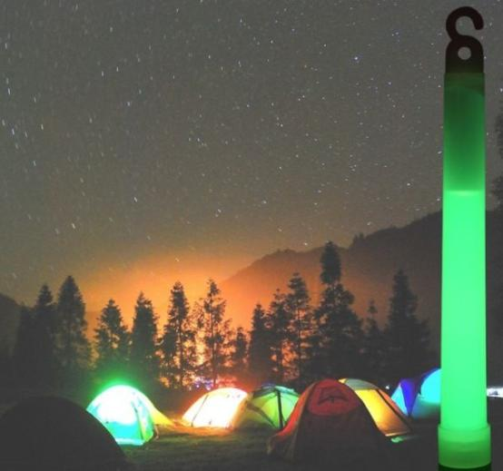 use glow sticks to light up your family camping night