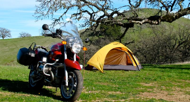 motorcycle camping for one person