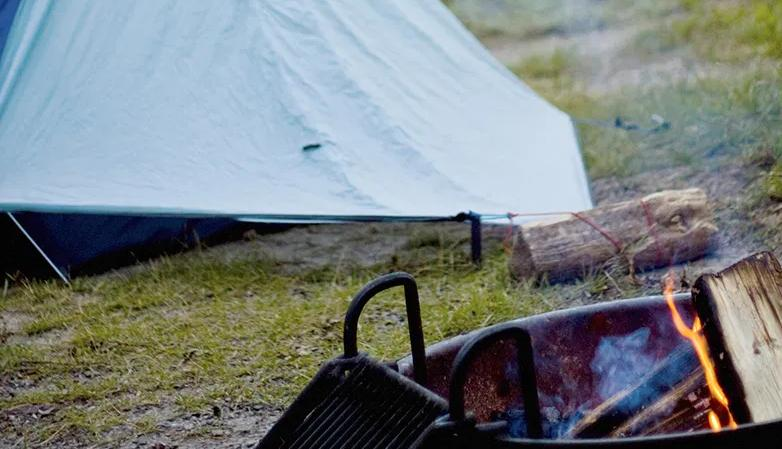 select good campsite for camping in the rain