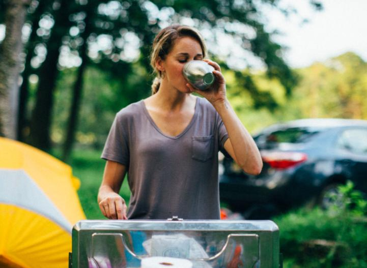 drink purified water when camping