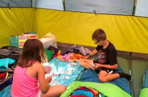 kids pack their own camping luggage