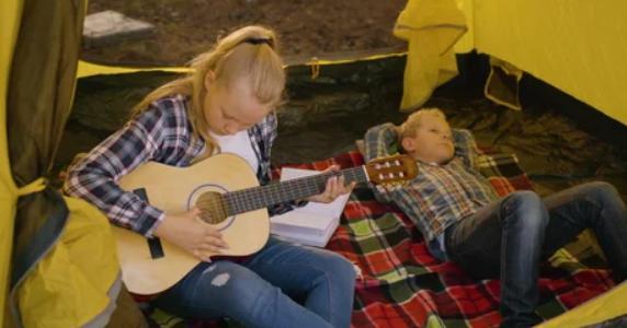 making music when camping in rain