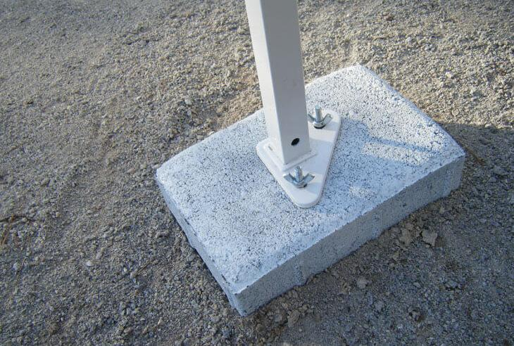 anchor your tent on concrete with cinder block