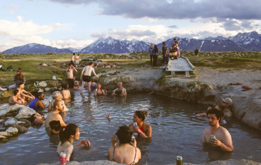bathe in the river when camping